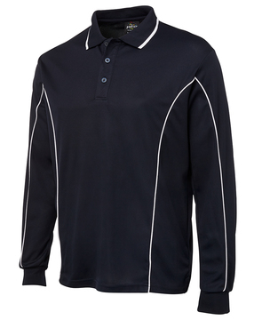 Long Sleeve Piping Polo - Select Colour