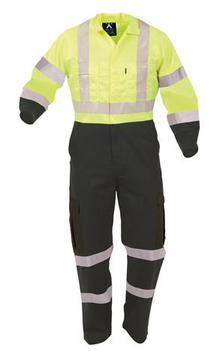Protex Polycotton Day Night Overall Spruce/Fluoro Yellow