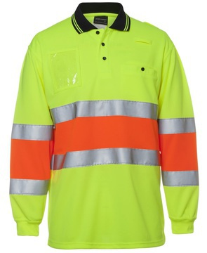 Hi Vis Bio Motion D+N Long Sleeve Polo Lime Orange