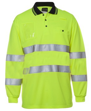 Hi Vis Bio Motion D+N Long Sleeve Polo Lime