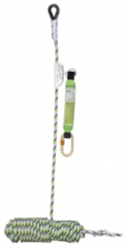 Guided Fall Arrester on Flexible Anchor Line With Energy Absorb Block