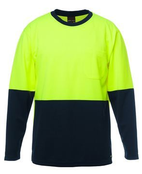 JB's Hi Vis L/S Traditional T-Shirt Lime Navy