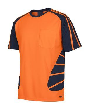 Hi Vis Spider Tee Orange Navy