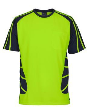 Hi Vis Spider Tee Lime Navy