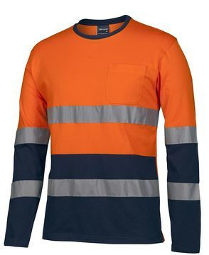 D+N L/S Crew Neck Cotton T-shirt Orange Navy