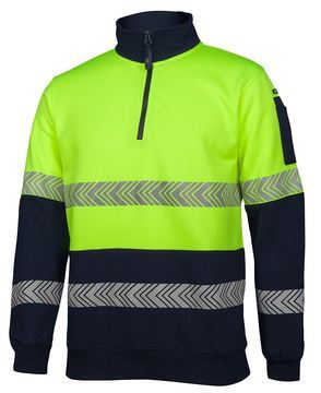 Hi Vis ½ Zip Segmented Tape Fleece Lime Navy