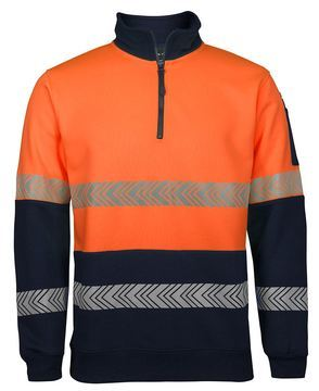 Hi Vis ½ Zip Segmented Tape Fleece Orange Navy