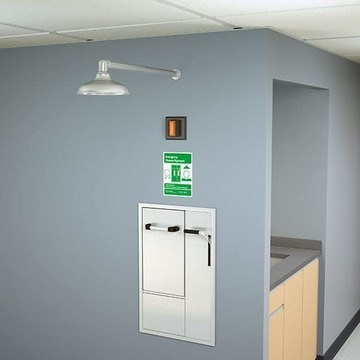 Recessed Safety Station with Drain Pan, Wall Mounted Exposed Shower Head