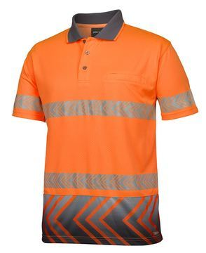 Hi Vis Segmented Arrow Sub Polo Orange Charcoal