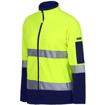 Ladies Hi Vis Softshell Jacket Lime Navy