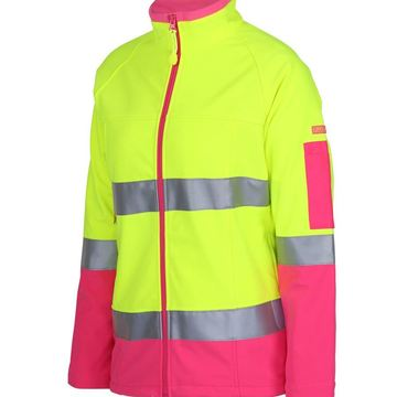 Ladies Hi Vis Softshell Jacket Lime Pink