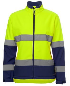 Ladies Hi Vis Water Resistant Softshell Style Lime Navy