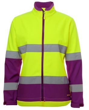 Ladies Hi Vis Water Resistant Softshell Style Lime Mulberry