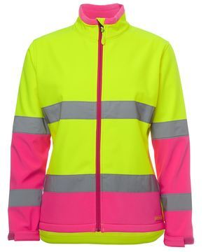 Ladies Hi Vis Water Resistant Softshell Style Lime Pink