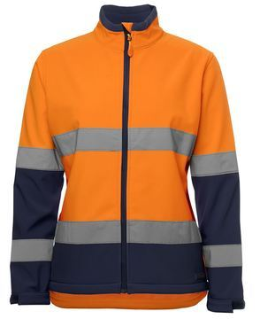 Ladies Hi Vis Water Resistant Softshell Style Orange Navy