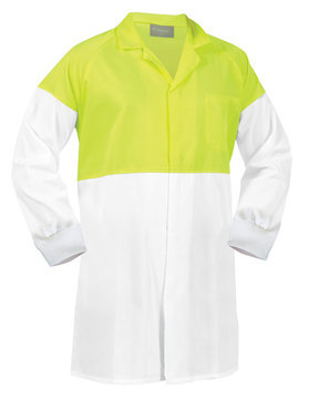 Food Industry Dust Coat 190GSM White Yellow