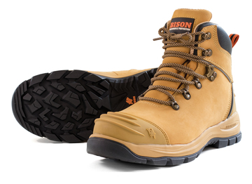 Bison XT Ankle Zip Lace-Up Safety Boot Wheat